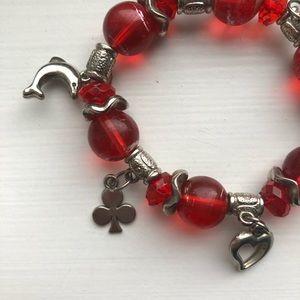 Vintage Jewelry - Vintage red bead & silver charm stretch bracelet